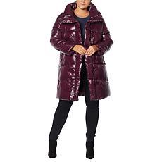 Avec Les Filles Asymmetric Nylon Puffer Coat
