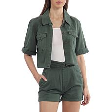 Avec Les Filles Cotton Lyocell Cropped Shirt - Forest Green