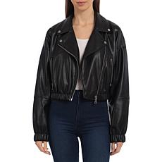 Avec Les Filles Cropped Vegan Leather Biker Jacket - Black