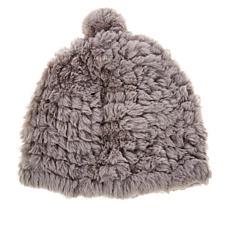 Avec Les Filles Knitted Faux Fur Hat with Pom Pom Detail