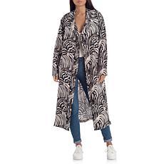 Avec Les Filles Zebra Print Linen Trenchcoat