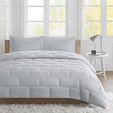 Avery Twin Seersucker Down Alternative Comforter Mini Set - Gray