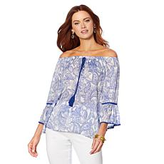 B Collection by Bobeau Papaya Gauze Off-the-Shoulder Top - Plus