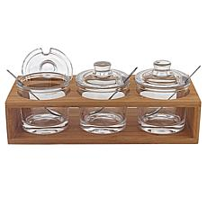 Badash 10-Piece Glass Jam Set with Spoons on a Wood Stand