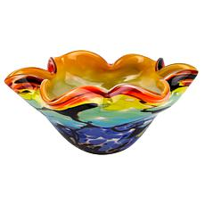 "Badash Allura Murano-Style Art Glass Wavy 8.5"" Centerpiece/Candy Bowl"
