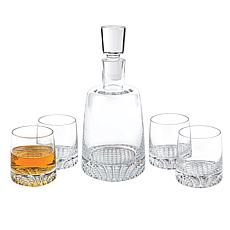 Badash Park Avenue Mouth-Blown Lead-Free Crystal 5-piece Whiskey Set