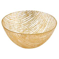 "Badash Secret Treasure Handcrafted Gold Accent Glass Bowl 11""Dia."