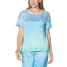 Badgley Mischka Short-Sleeve Silk Tee