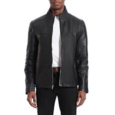 Bagatelle Heritage Men's Lamb Leather Moto Jacket - Black