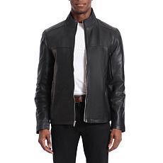 Bagatelle Heritage Men's Lamb Leather Moto Jacket - Black
