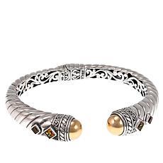 Bali Designs 0.82ctw Citrine 2-Tone Hinged Cuff Bracelet
