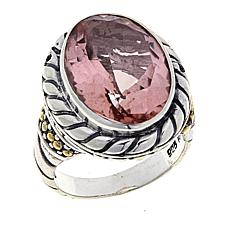 Bali Designs 10.1ctw Coated Pink Morganite Quartz 2-Tone Ring