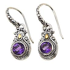 Bali Designs 1.28ctw  Round Amethyst Drop Earrings