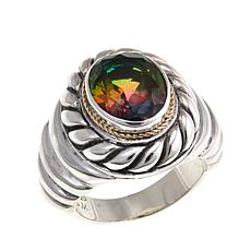 Bali Designs 2-Tone Watermelon Quartz Doublet Cable-Twist Ring