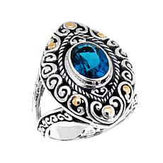 Bali Designs 2.21ct London Blue Topaz 2-Tone Ring