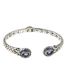 Bali Designs 2.2ctw Tanzanite Basketweave Hinged Bangle Bracelet