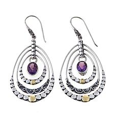 Bali Designs 2.6ctw Amethyst 2-Tone Chandelier Earrings