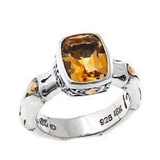 Bali Designs 2.7ct Cushion Citrine Bamboo Design Ring