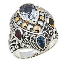 Bali Designs 2.89ctw White Topaz and Multigemstone Ring