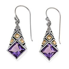 Bali Designs  4.08ctw Amethyst Princess-Cut Earrings