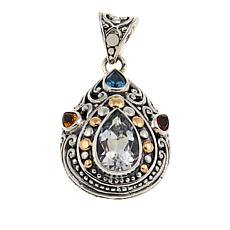 Bali Designs 4.17ctw White Topaz and Multigemstone Pendant