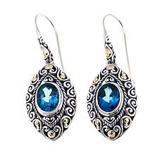 Bali Designs 4.24ctw London Blue Topaz 2-Tone Earrings