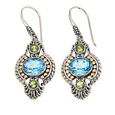 Bali Designs 6.88ctw Sky Blue Topaz & Peridot Earrings