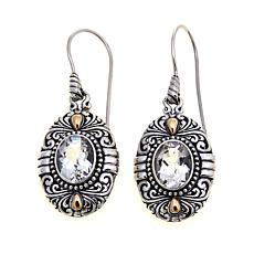 Bali Designs 6ct Oval White Topaz Drop Earrings
