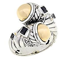 Bali Designs  Black Spinel and White Topaz Ring with 18K Gold Domes