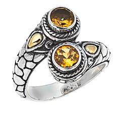 Bali Designs by Robert Manse 0.96ctw Round Citrine Bypass Ring