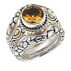 Bali Designs by Robert Manse 1.53ctw Citrine 3-Piece Ring Set