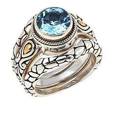 Bali Designs by Robert Manse 1.98ctw Blue Topaz 3-piece Ring Set