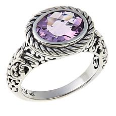 Bali Designs by Robert Manse 2.27ct Oval Pink Amethyst Scrollwork Ring