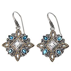 Bali Designs by Robert Manse 3.9ctw Swiss Blue & White Topaz Earrings