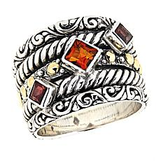 Bali Designs Citrine and Garnet Ring with 18K Accents