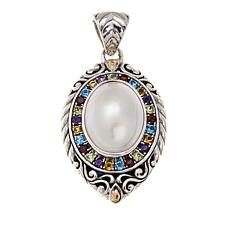 Bali Designs Cultured Mabe Pearl and Multigem 2-Tone Pendant