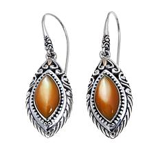 Bali Designs Marquise Golden Mother-of-Pearl Earrings