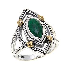 Bali Designs Marquise Green Beryl 2-Tone Ring