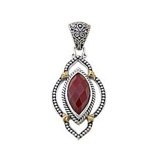 Ruby pendants hsn bali designs marquise red corundum 2 tone pendant mozeypictures Image collections