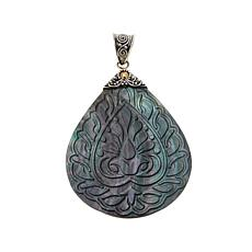 Bali Designs Mother-of-Pearl Carved Pear-Cut Pendant