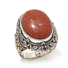 Bali Designs Orange Goldstone and Citrine 2-Tone Ring