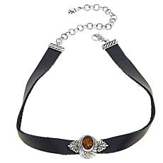 "Bali Designs Oval Amber Leather 13"" Choker"
