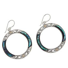Bali Designs Sterling Silver Abalone Scrollwork Dangle Earrings