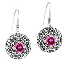 Bali Designs Sterling Silver and 18K Created Sapphire Scallop Earrings