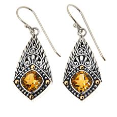 Bali Designs Sterling Silver and 18K Cushion Gemstone Drop Earrings