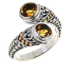 Bali Designs Sterling Silver and 18K Gem Popcorn Pattern Bypass Ring