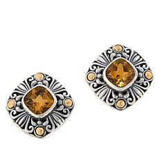 Bali Designs Sterling Silver and 18K Gem Scrollwork Stud Earrings