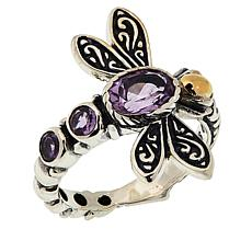 Bali Designs Sterling Silver and 18K Gemstone Dragonfly Ring