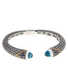 Bali Designs Sterling Silver & 18K Gemstone Popcorn Pattern Crown Cuff