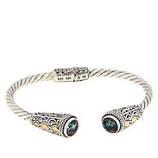 Bali Designs Sterling Silver and 18K Gemstone Scrollwork Cuff
